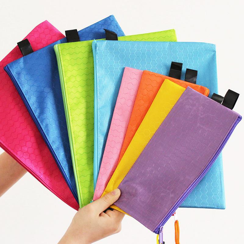 Colorido Double Layer lona arquivo de papel Zipper pano pasta Livro Lápis Pen Case Bag fornecedores escola Documento Arquivo Bags
