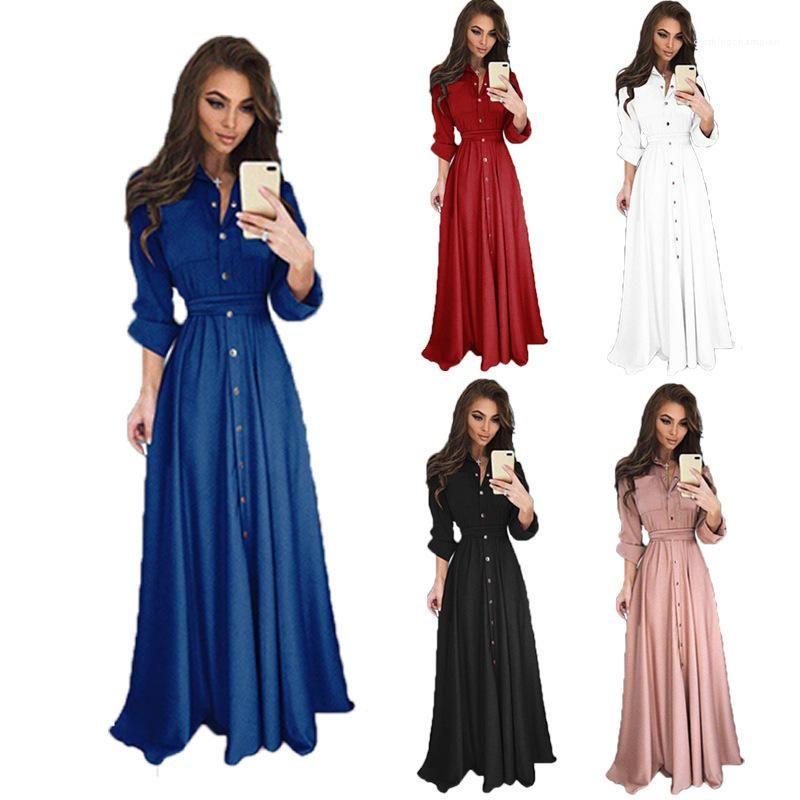 Botton Uzun Elbiseler Moda İnce Katı Renk Casual Kadın Giysileri Kadın Tasarımcı Elbise Yaz Uzun Kollu
