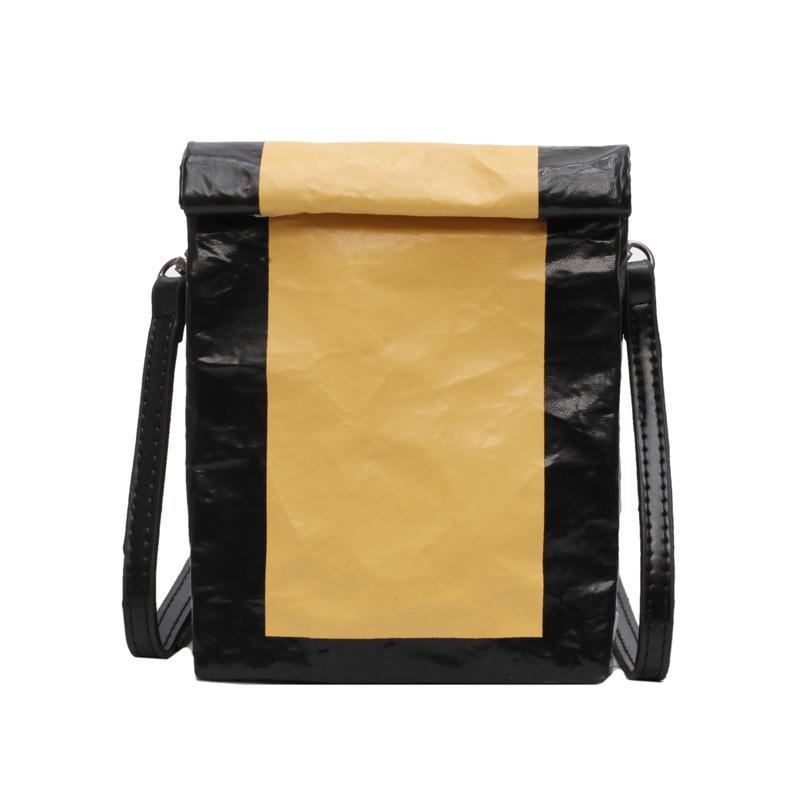 Kraft Paper Crossbody bag Women Top PU Leather Shoulder Bags Fashion Flap Bags Belt Purse bolso mujer B021