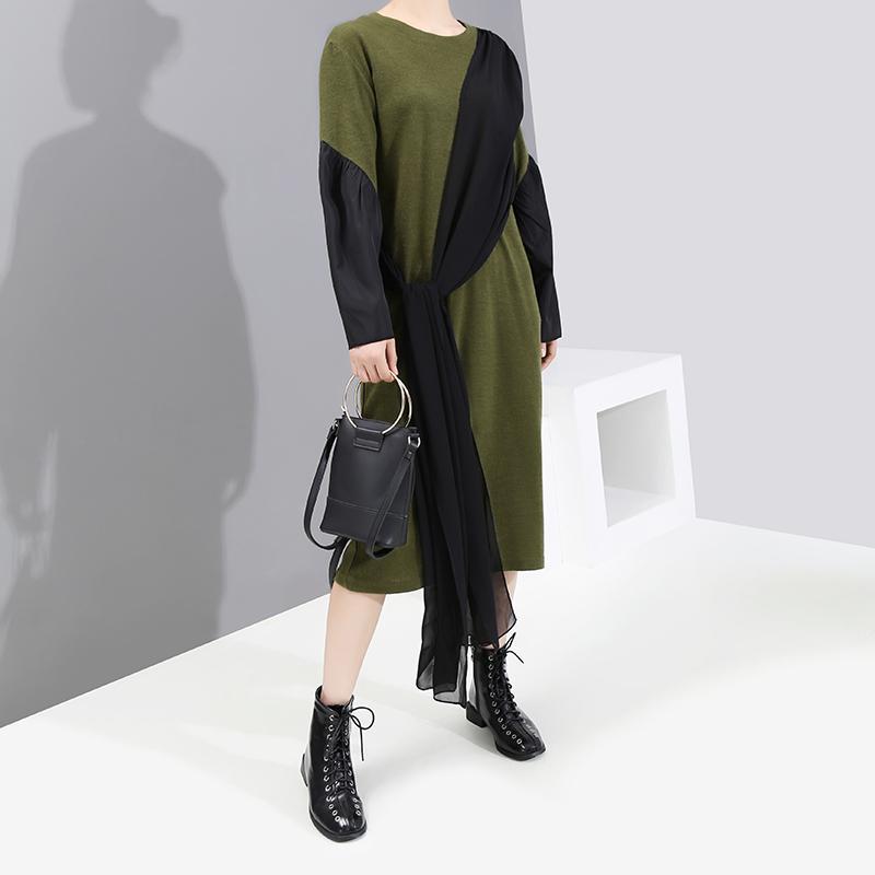 Yeni 2019 Kadın Kış Giyim Uzun Kollu Yeşil Patchwork Elbise Şifon Parça Bayanlar Sevimli Giyim Midi Elbise Robe Katılım