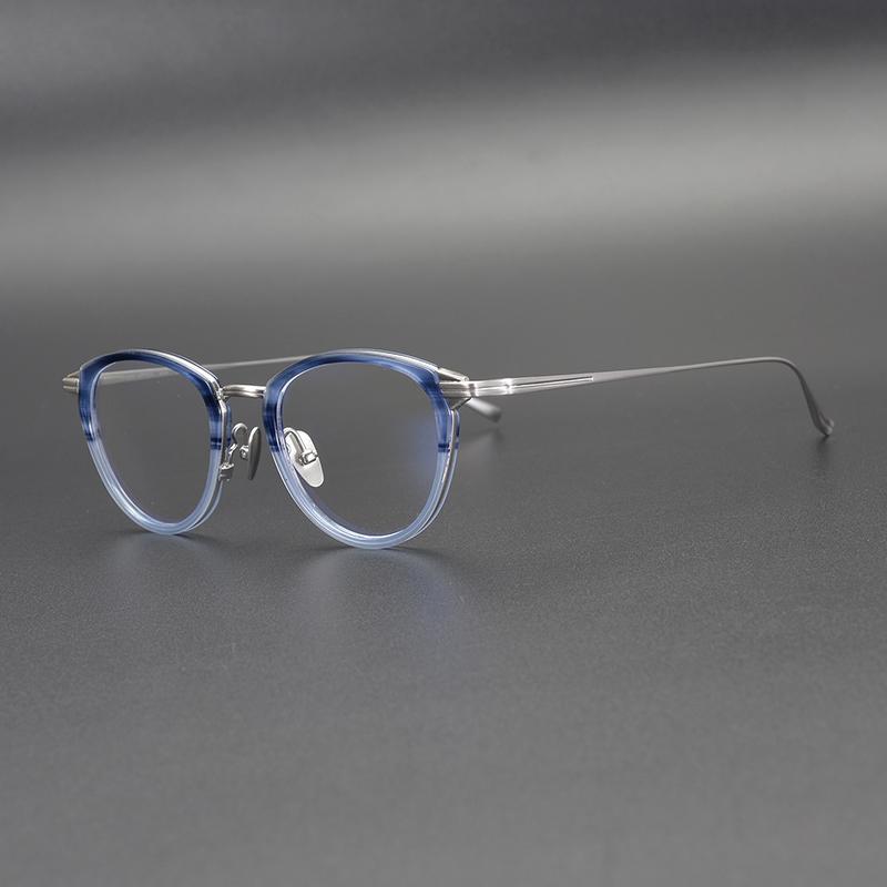Lüks-Titanyum Asetat Gözlükler Çerçeve Erkekler Yüksek Kalite Kadınlar Gözlük Gözlük için Vintage Yuvarlak Optik Çerçeveler Gözlük