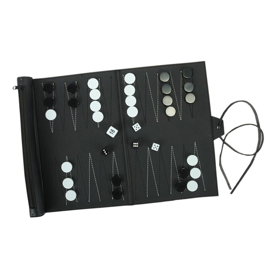 Pelle Deluxe PU Roll-Up portatile Backgammon da tavolo Gioco Viaggi Bundle
