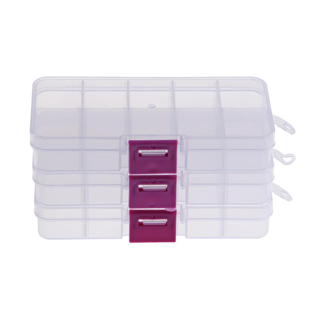 3 шт прямоугольник 10 сетки пластиковый ящик для хранения круглый ювелирные изделия бисер хранения пластиковая коробка контейнер ремесло организатор