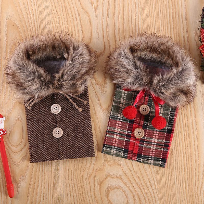 Bouteille de vin chandail de Noël Cadeaux couverture Sacs récent bouton de col manteau Conception de bijoux Pouches Robe Ensembles Xmas Party Décor