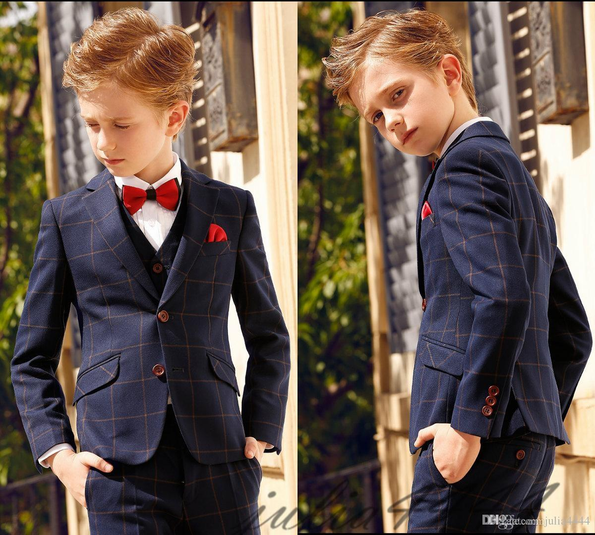 Three Piece Kids Wedding Suits New Arrival Peaked Lapel Custom Made Boys Formal Wear (Jacket + Pants +Pocket Square +Bow Tie) Gowns For Boys