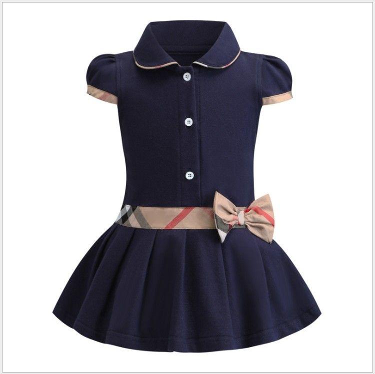 Retail Baby Mädchen Prinzessin Kleid Kinder Revers College Style Bowknot Kurzarm Plissee Poloshirt Rock Kinder Sommer Freizeitkleider