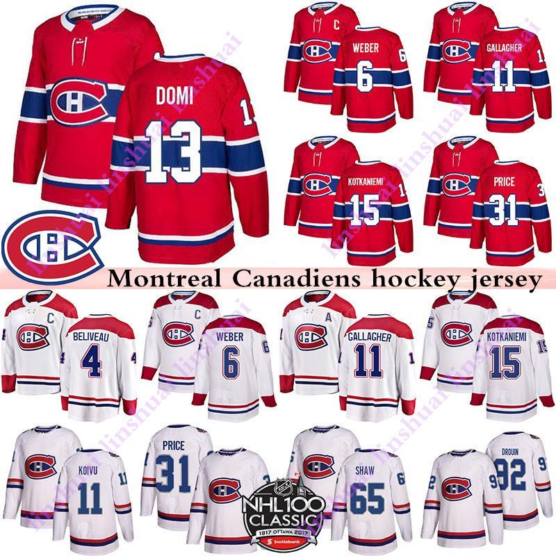 Men's Montreal Canadiens Jerseys 6 Shea Weber 31 Carey Prezzo 11 Brendan Gallagher 13 Max Domi cucito rosso o bianco Hockey Hockey Jersye
