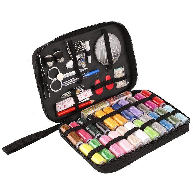 Kit de costura, Fuentes de costura DIY con 94 accesorios, kit portátil para principiantes, viajeros y ropa de emergencia F