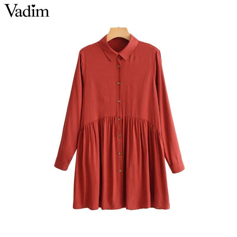 Venta al por mayor elegante de las mujeres camisa plisada vestido de manga larga gire el cuello sólido mujer vestidos casuales mini vestidos mujer QA789