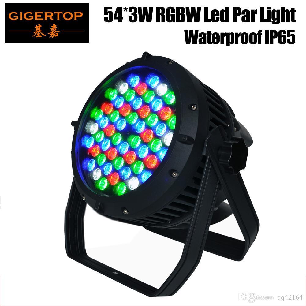gigertop 54x3w RGBW LED Par 64 Light Water Section, DMX 512, 8 Channels Led Par Pols, IP 65 Rate Led Stage Light 90V-240V Par