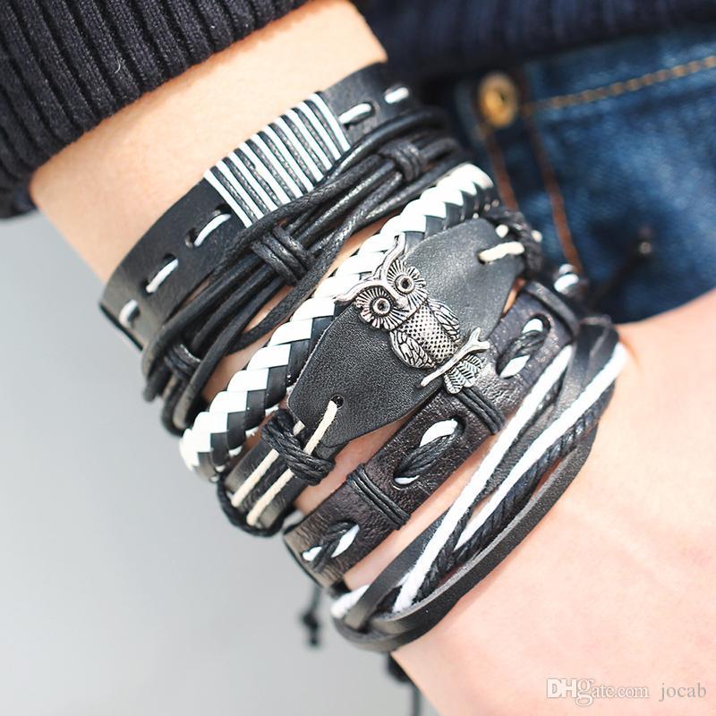 2019 5pcs/set Fashion Charms Multiple Layers Owl Leather Bracelet Men Vintage Classic Rope Chain Wrap Arm Bracelet Set Male Jewelry