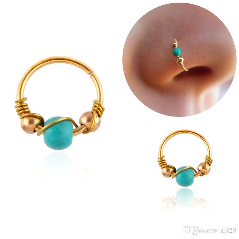2020 Stainless Steel Nose Hoop Turquoise Nose Hoop Nose Piercing Ear Screen Hoop Earrings Cartilage Earrings Spiral Perforation From Sl929 0 26 Dhgate Com