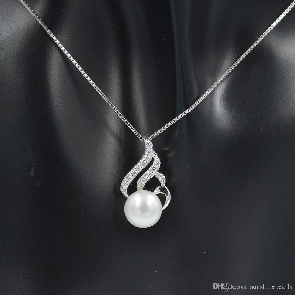 2019 Sterling silver flame design pendant necklace for women Valentine's Day gift with natural freshwater pearls