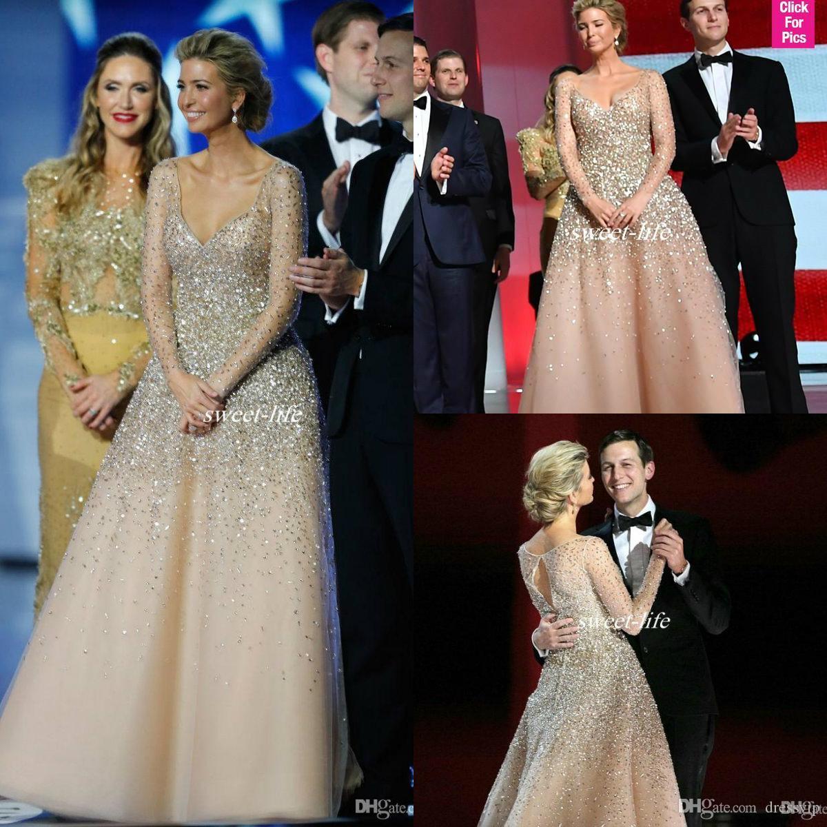 Ivanka Trump Celebrity Dresses 2018 새로운 샴페인 블링 블라인드 복장 볼 가운 Tulle 누드 패션 이브닝 가운