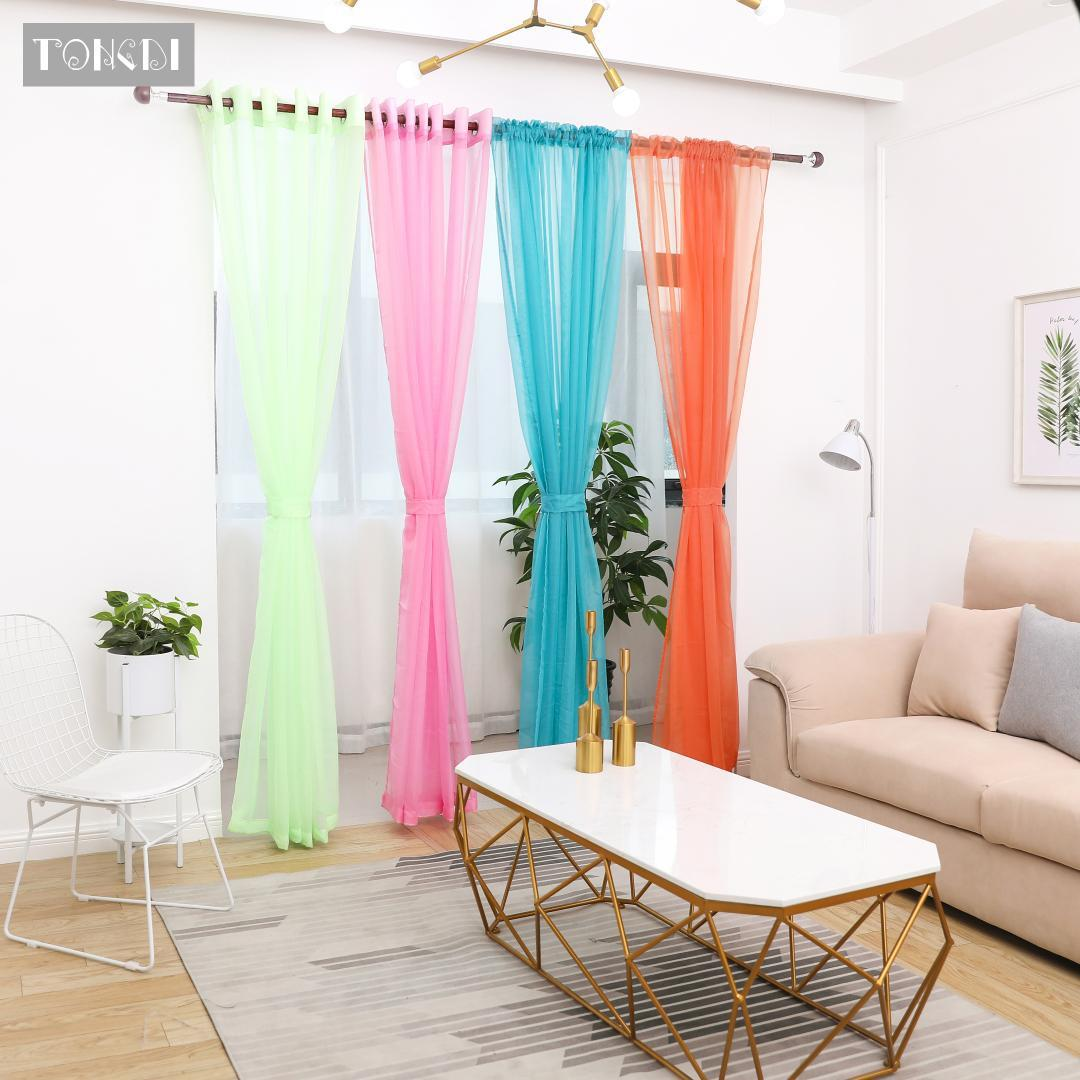 2019 Tongdi Tulle Multicolour Panel Door Scarf Valance Window Curtain Modern Style Voile Pure Rainbow Sheer For Bedroom Living Room From Copy03