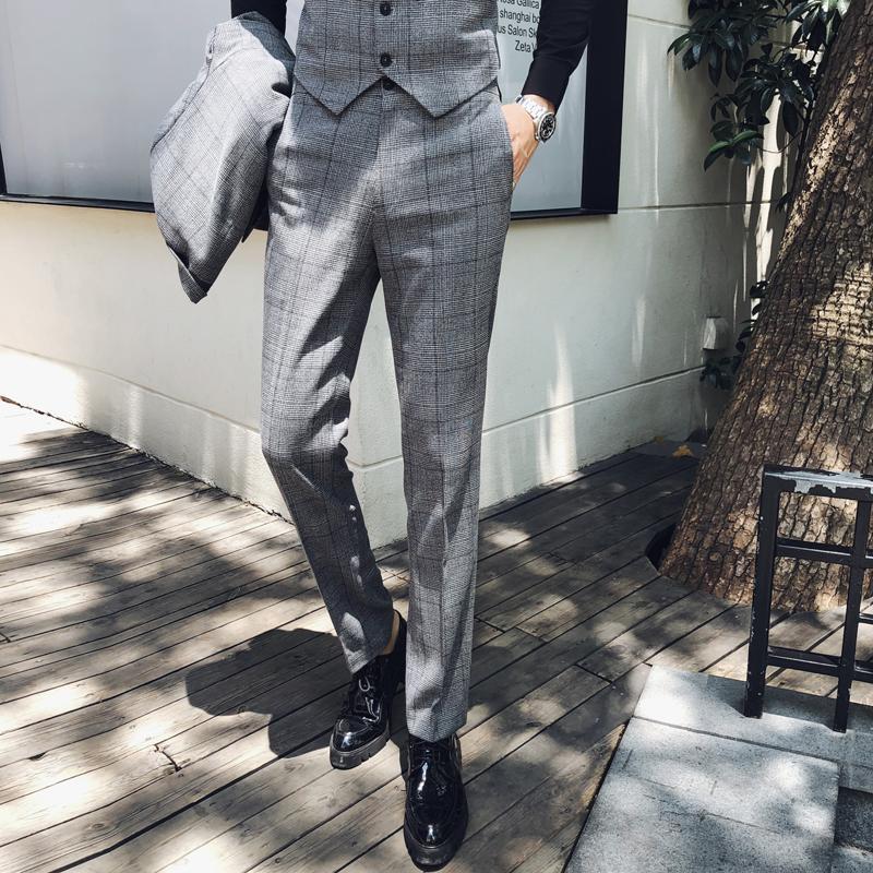 Men's Suits & Blazers Fashion Boutique Mens Plaid Casual Business Suit Trousers Male High-end Slim Pants Wedding Dress