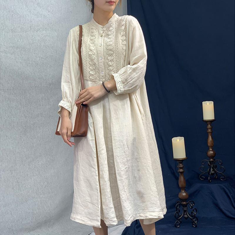 gros 2020 New Vintage Lin broderie florale Loose Women Robes d'été de couleur unie O-cou pleine manches Robe boutonnée