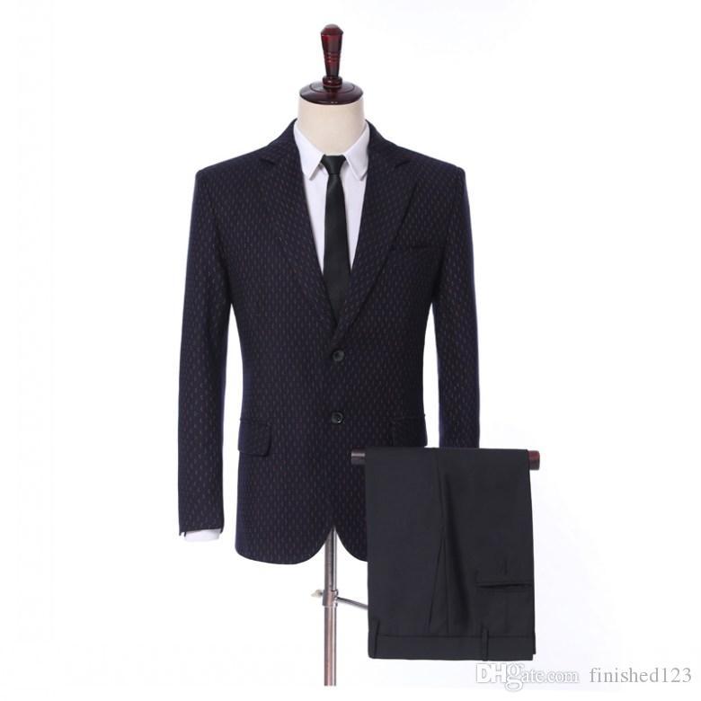 Mais recente Projeto de Volta Ventilação Dois Botões Noivo Smoking Notch Lapela Padrinhos de Casamento Dos Homens Do Partido Ternos (Jacket + Pants + Tie) W43