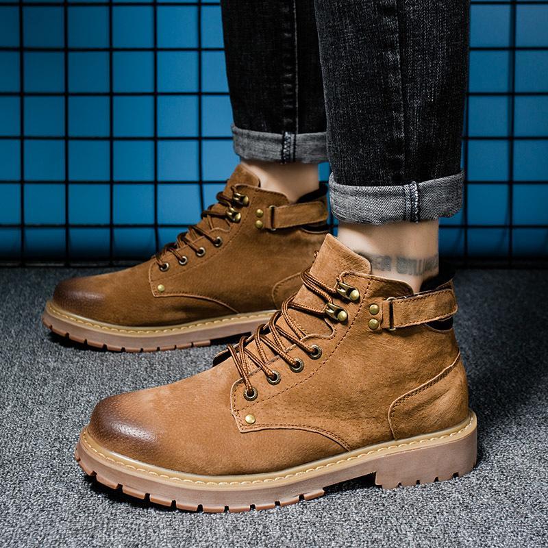 Hot Sale-Warm Boots Stivali da cowboy vera pelle Grigio Bruno Tempo libero Martin Sneakers Fashion Designers Mens 40-44