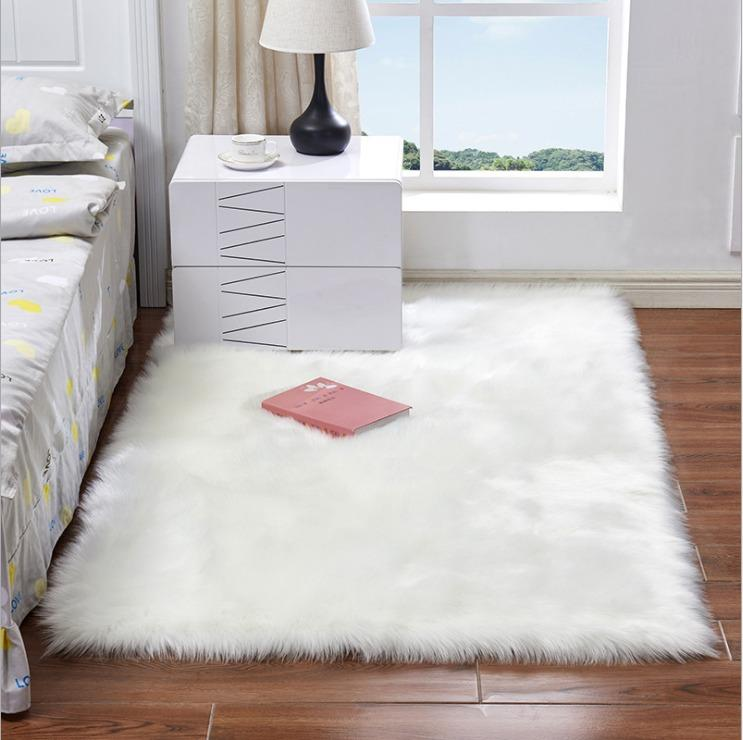 Square Imitation Wool Carpet Kitchen Rug Cushion Mat Door Mat Plush For Living Room Coffee Table Sofa Bedroom Office
