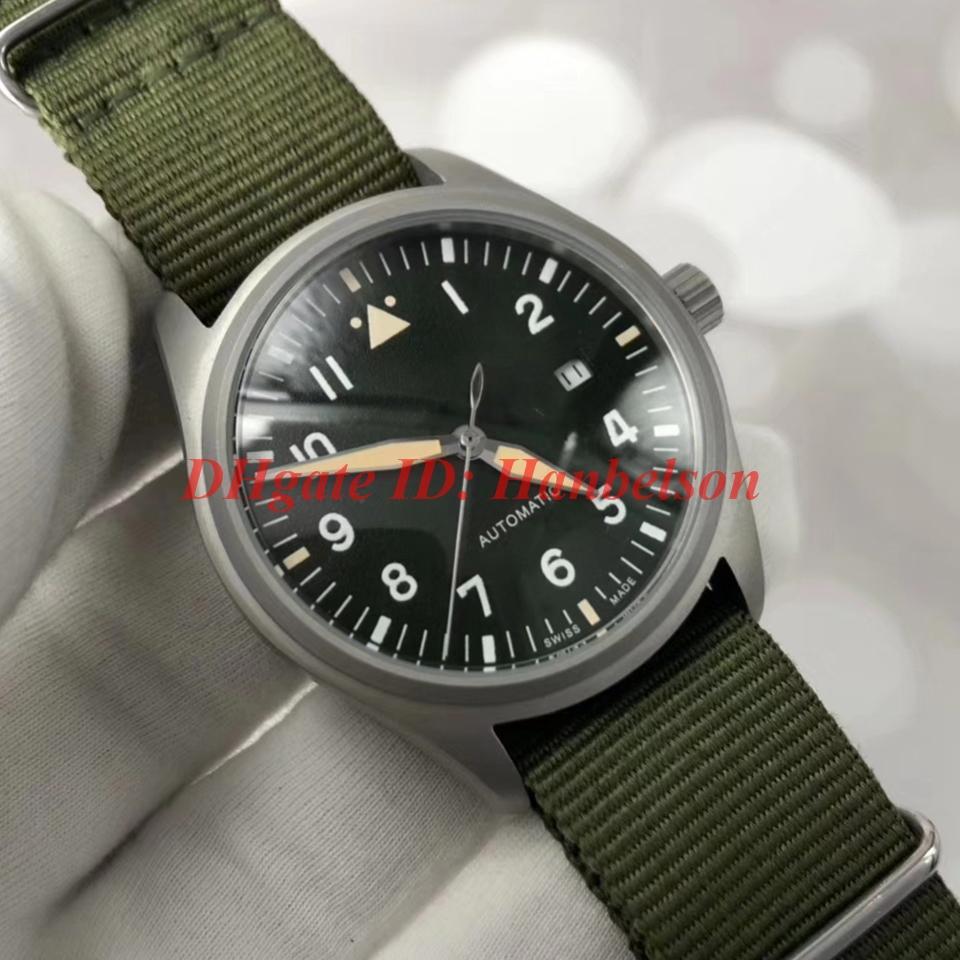 حار بيع aviator رجل الساعات الجيش الأخضر النايلون حزام IW326801 التلقائي الحركة الميكانيكية orologio دي لوسو 40MM armbanduhr