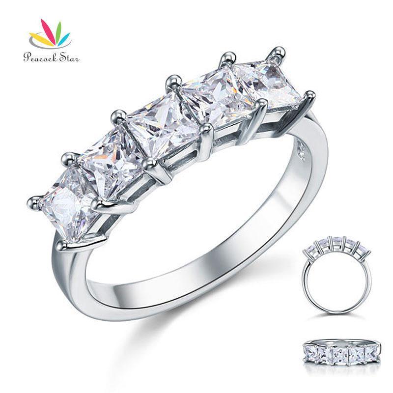 Tavuskuşu Yıldız Prenses Kesim Beş Taş 1.25 Ct Katı 925 Ayar Gümüş Gelin Düğün Band Yüzük Takı Cfr8072 Y19052201