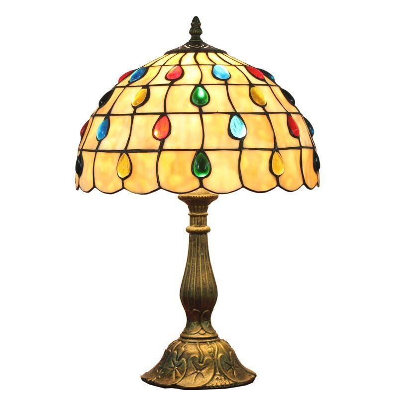 Tiffany manchado mesa de vidro lâmpadas bar restaurante lâmpada de contas lâmpada sala de estar iluminação quarto bedside europeu retro mesa de mesa tf052