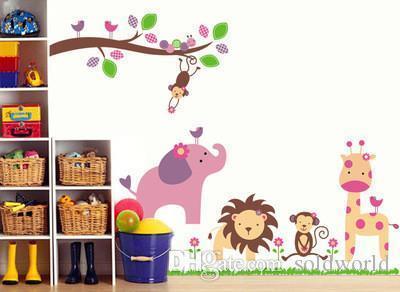 침대 룸 거실 아이들을위한 벽 스티커 만화 동물원 MOQ 18 개 벽 스티커