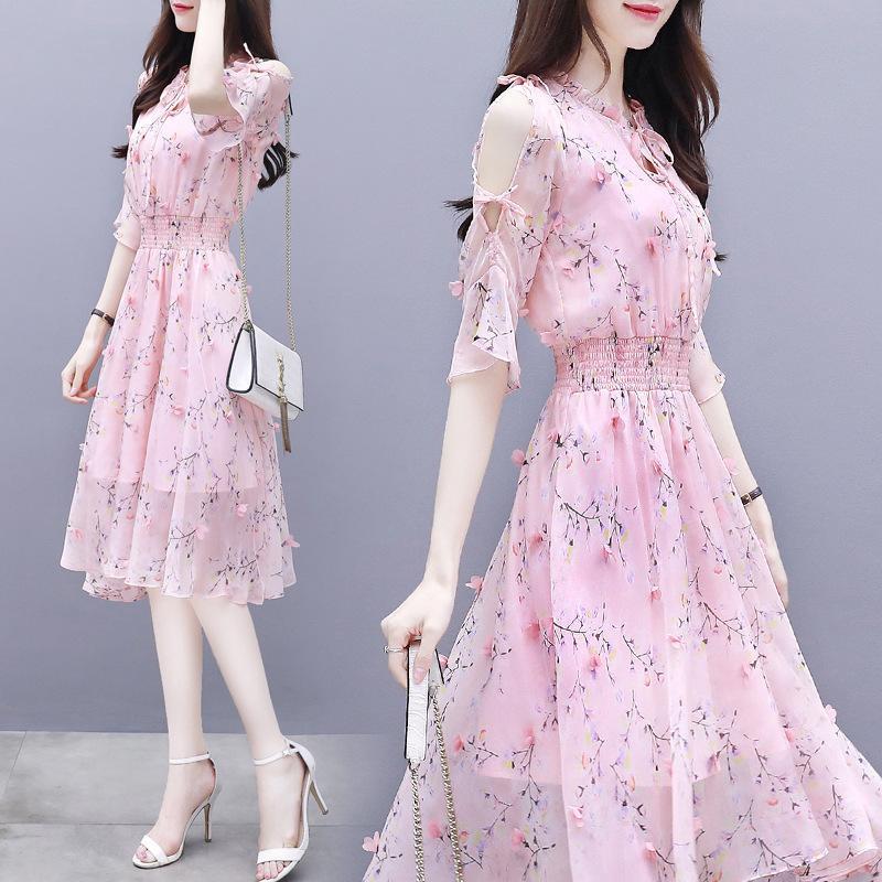 2020 Yeni Kadın Giyim Güney Tarzı Mizaç Popüler Ünlü Broken Çiçek Şifon Elbise Süper Peri Yaz Elbise