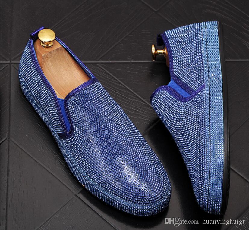 Fatti a mano uomini con strass nero blu della pelle scamosciata fannulloni festa nuziale di Uomini scarpe di lusso Oro Nobili Calzature elegante abito per gli uomini BM980