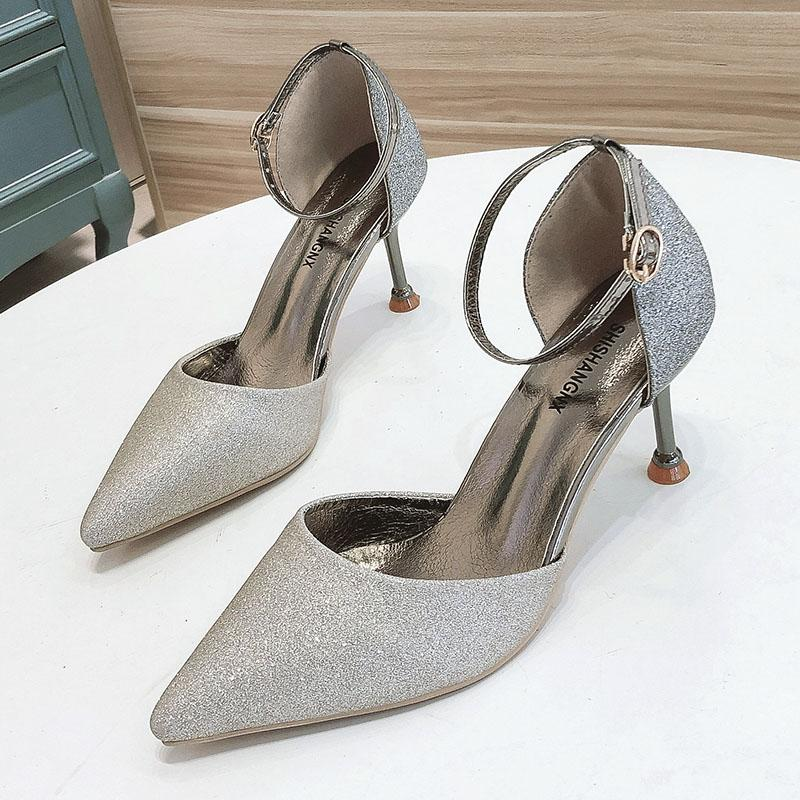 Zapatos de novia sandalias de las mujeres novia atractivos de los altos talones señaló zapatos de tacón Mujeres Bling de señoras dorado BigTree sandalias de tacón