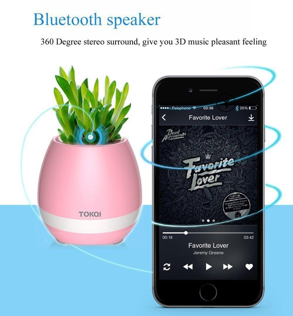 Flowerpot Musical Bluetooth Speakers luz de respiração de lâmpada Potenciômetros inteligentes jogar tocar plantas recarregáveis recarregáveis