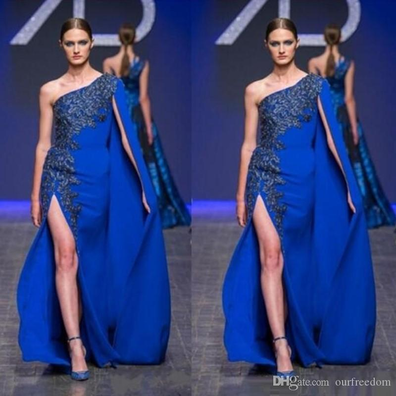 로얄 블루 원 숄더 이브닝 가운 2,016 레이스 새해 높은 분할 댄스 파티 드레스 케이프 스타일 바닥 길이 정장 파티 드레스
