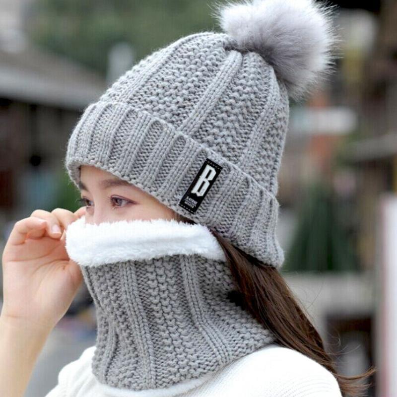 2020 Fashion Trend 2Pcs Schal Hat Set-Frauen-Dame Neueste Winter-warme Pompoms Strickschal beiläufige Thick-Wärmer