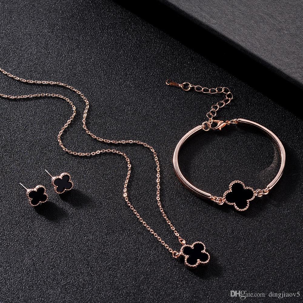 18K Rose Gold Plated Four Leaf Clover Necklace Bracelet Earrings Jewelry Set for Women Elegant Brides Luxury Wedding Jewelry Sets 3pcs/set