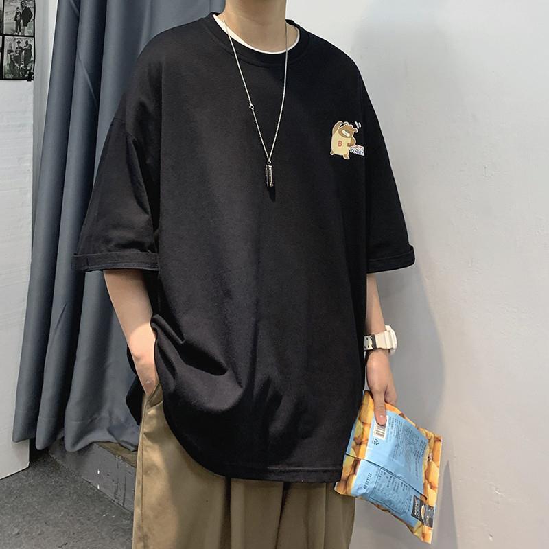 Мужчины Смешные футболки 2020 лето Мужская японская Streetwear Harajuku Хлопок Tshirts Пара Kawaii Крупногабаритные Топы Тис Черный T200512