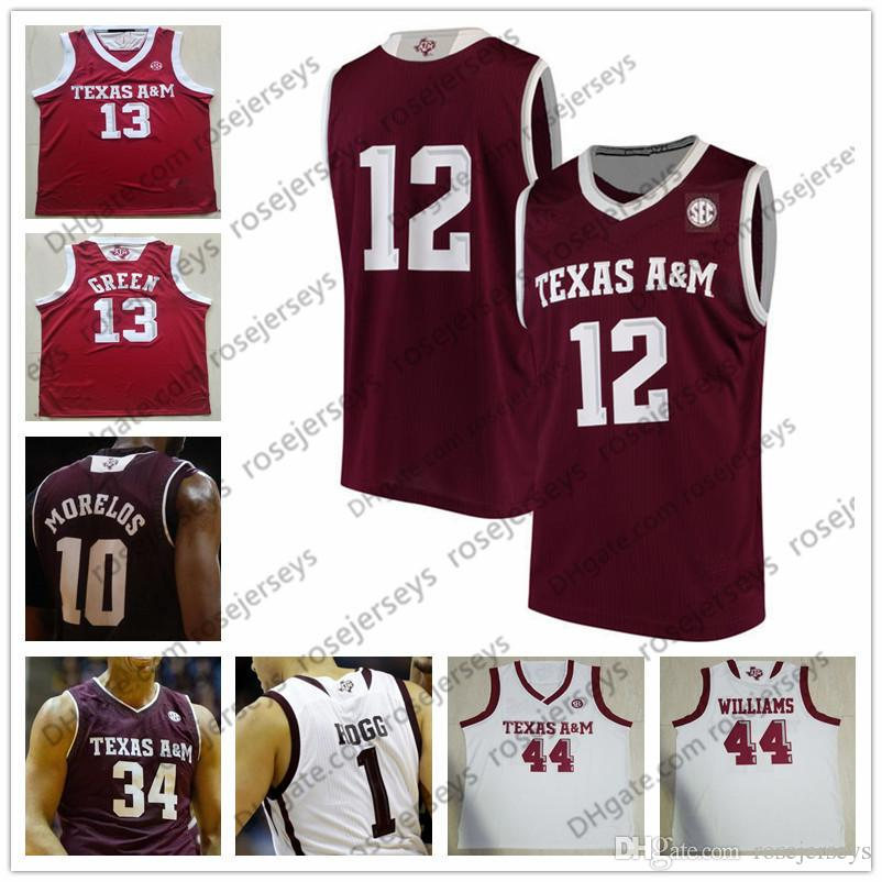 Custom Texas A&M Aggies College Basketball white red Stitched Any Name Number #1 Savion Flagg 2 TJ Starks 21 Christian Mekowulu Jersey S-4XL