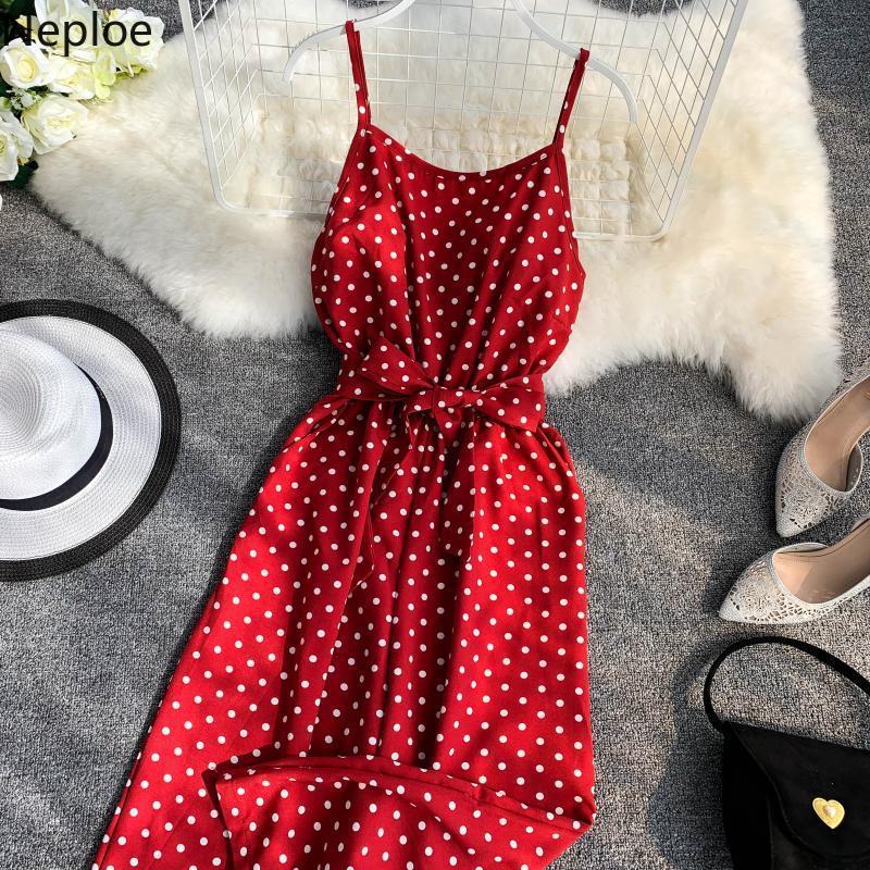 Neploe Yaz 2020 Romper Bandaj Kırmızı Tulumlar Vintage Dot Kolsuz Camiş tulum Kadınlar Sweet V-Yaka Backless Bodysuits