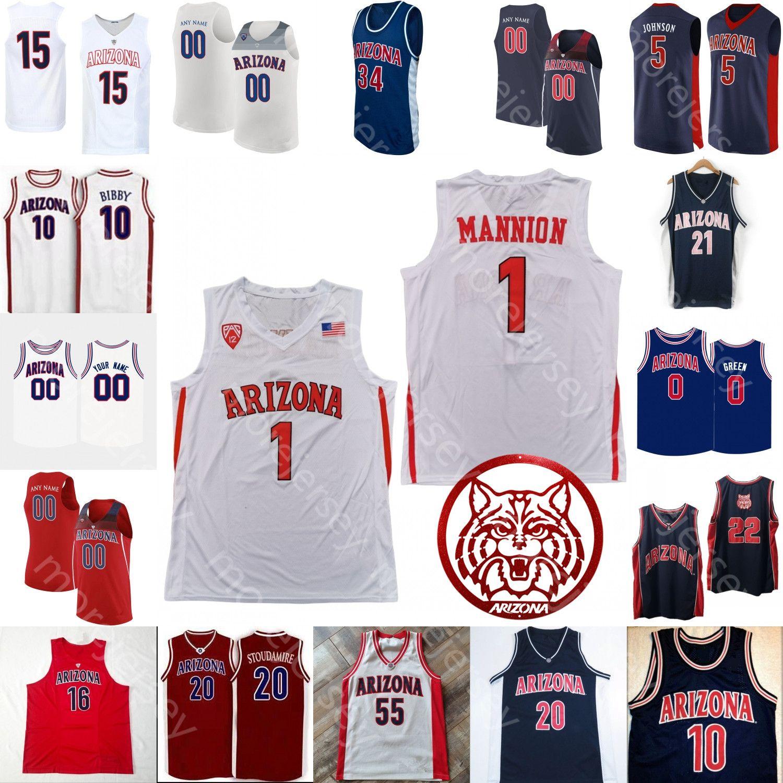 Custom Arizona Wildcats Basketball Jersey NCAA College Josh Green Mike Bibby Nico Mannschaft Zeke Nnaji Gilbert Arenas Jason Terry Markkanen