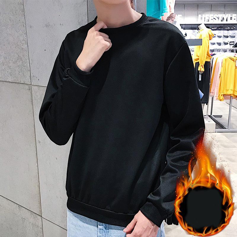 Moda casual para hombre flojo de la manga suéter de cuello redondo con capucha puente largo Tops