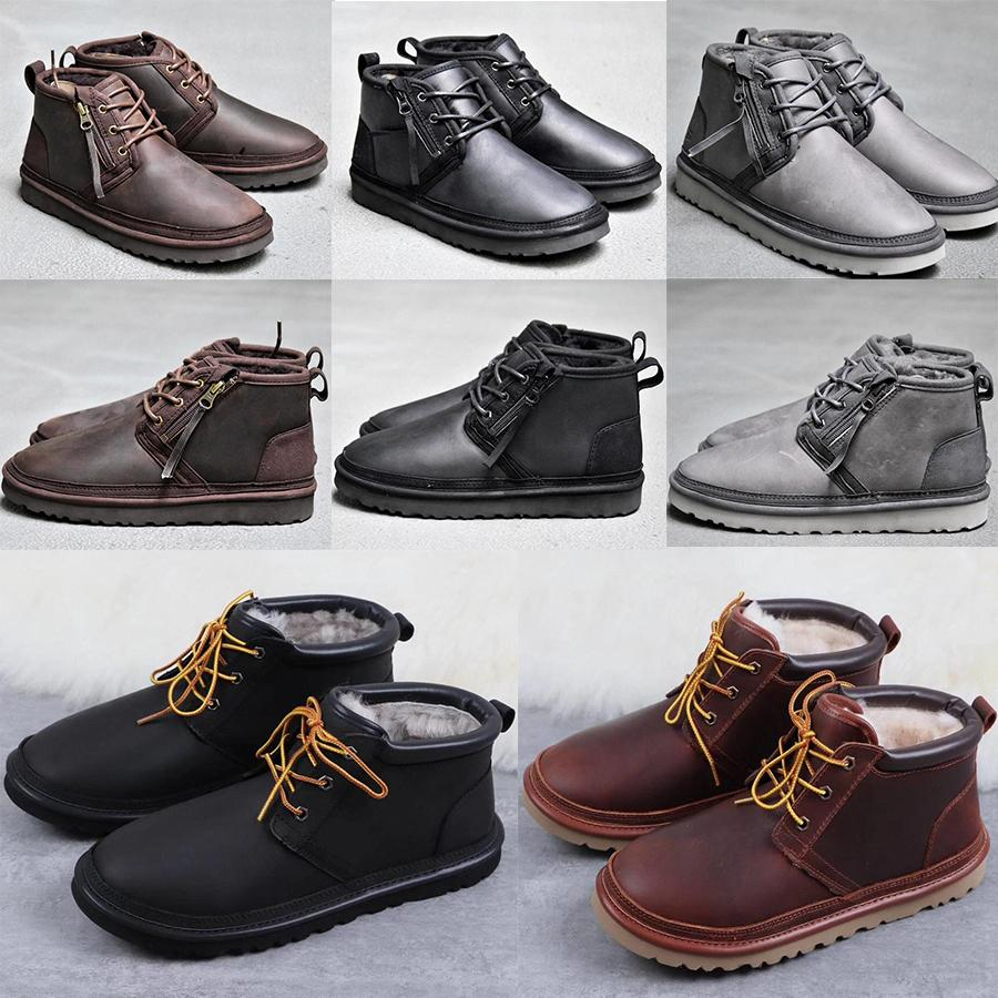 2019 australie hommes de WGGUggsUGGugglis classiques bottes hautes demi chausse des bottes bottes noires glisse hiver neige cheville leather8fd9 #