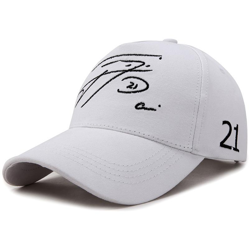 Casual Hat Feminino Verão Selvagem Baseball Cap Homem Casal Carta Cap Digital Bordados Chapéu de Sol Tide