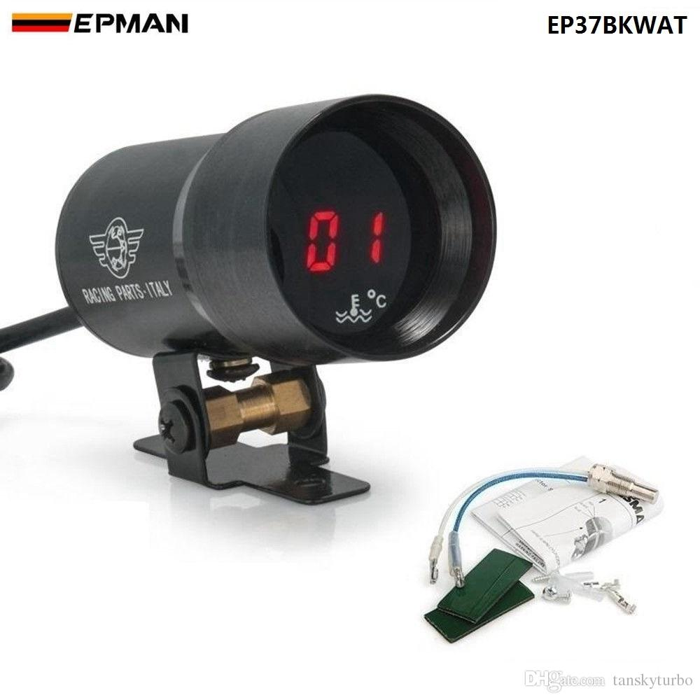 EPMAN 37MM GAUGE / METER MICRO MICRO DIGITAL AGUA DE TEMPERATURA AUTOMÁTICA 37 mm suministrado con sensor + kit negro ep37bkwat