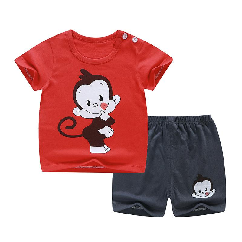2020 العلامة التجارية الملابس لفتاة فتى مجموعة ملابس القرد طباعة قصيرة الأكمام بلايز الدعاوى + السراويل طفل الطفل مجموعة