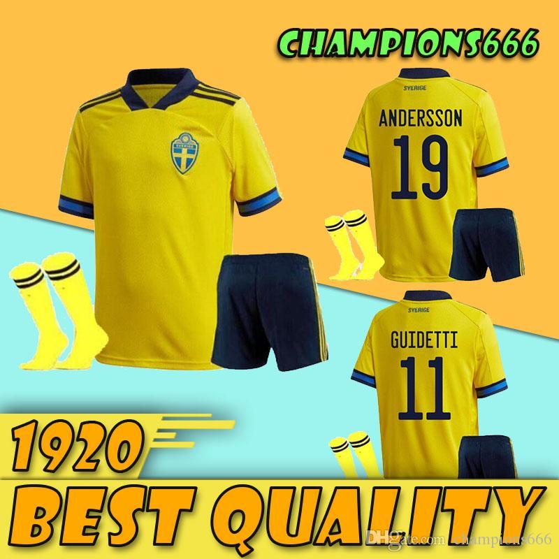 2020 2021 kit pour adultes maillots de football Suède 20 21 maison européenne FORSBERG BERG Lindelof Guidetti pied chemise de football avec des chaussettes Sets maillot manches courtes