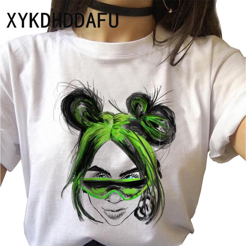 Billie Eilish T-shirt Femmes Mode Harajuku esthétique Bad Guy T-shirts Vêtements Femme drôle Streetwear Tshirt 90 Femme Top Tee