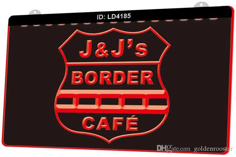 Señal LD4185 Border Cafe Nueva 3D de luz LED de grabado Personalizar bajo demanda color múltiple