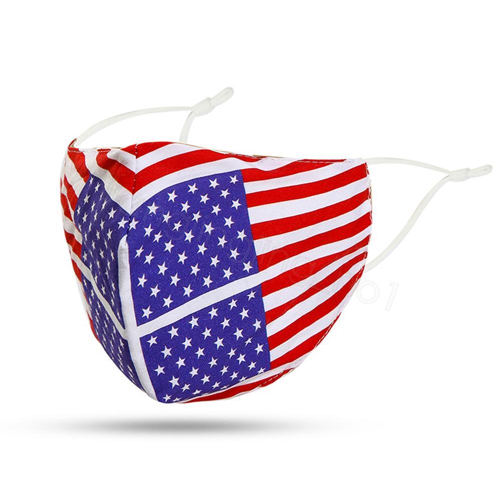 bandera de EE.UU. lazo cubierta impresa dientes máscara facial protectora tinte boca al aire libre a prueba de polvo facial de la máscara de adulto con FFA4231-3 filtro de bolsillo