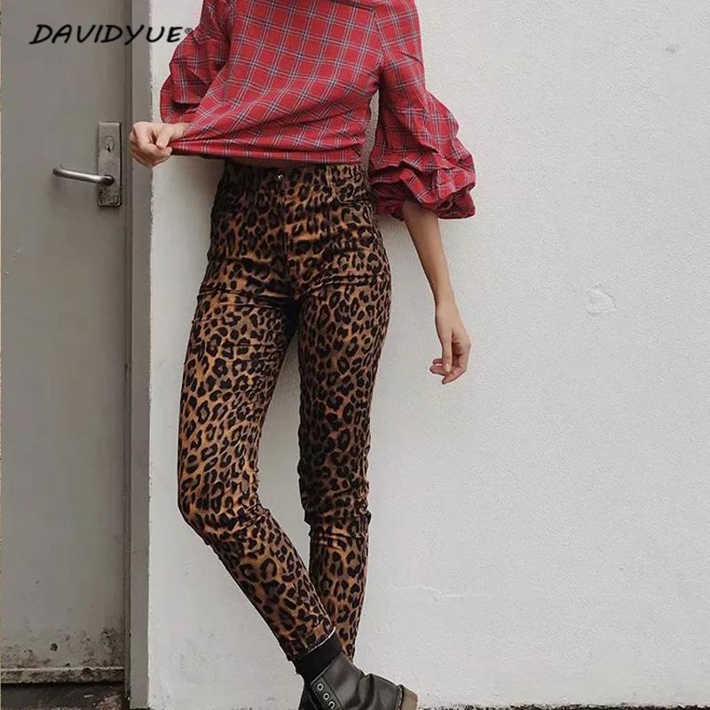 Мода леопардовый принт узкие джинсы уличная женская высокая талия Джинсы карандаш брюки джеггинсы панк-рок парень для женщин