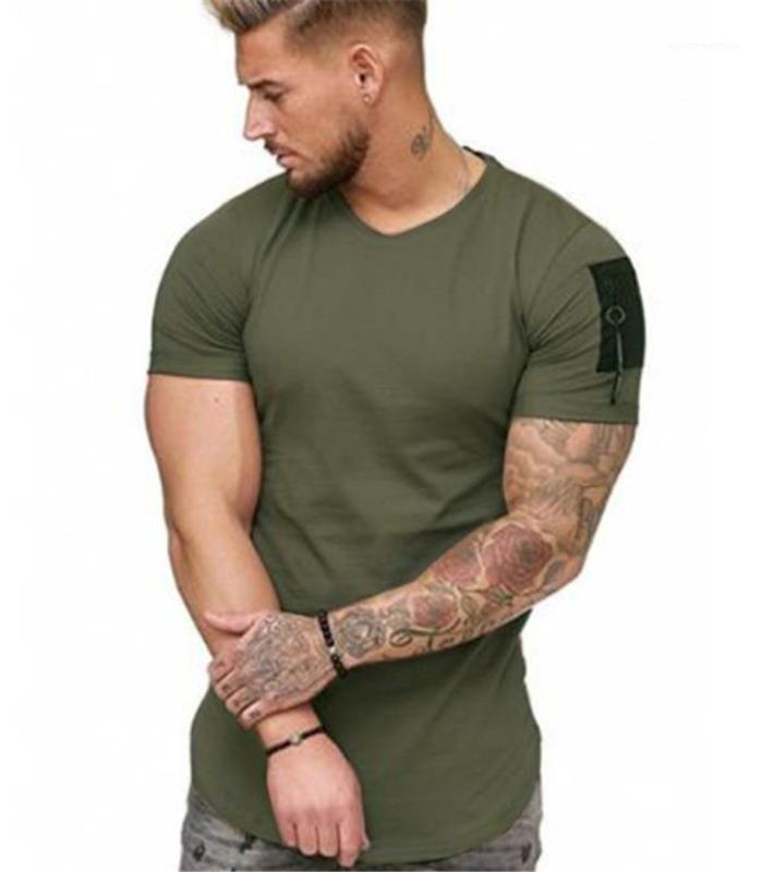 Mens Designer T-Mode Slim Zipper lambrissé manches courtes pour hommes T-shirts Les hommes Vêtements décontractés Couleur unie